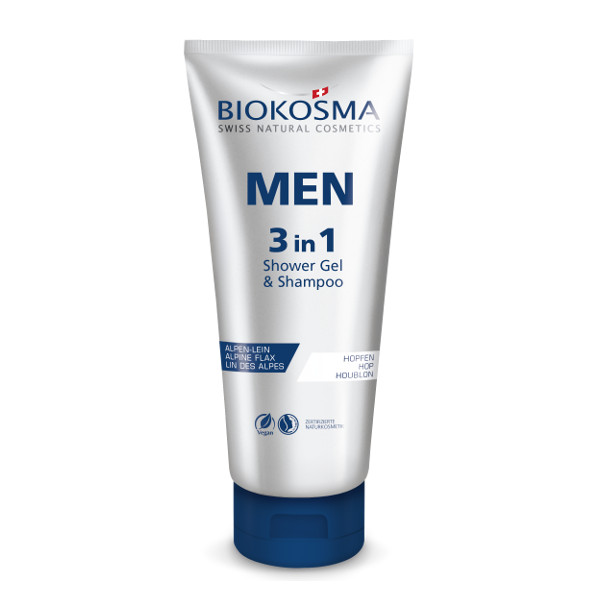 BIOKOSMA Men 3 in 1 Shower Shampoo Face Wash 200ml Naturkosmetik Swiss Made